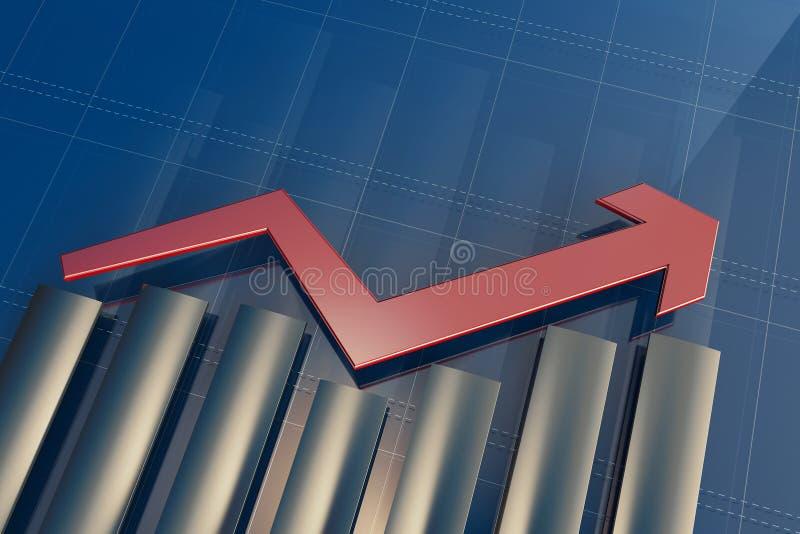 Economische indicatoren en beweging vooruit met de pijl royalty-vrije illustratie