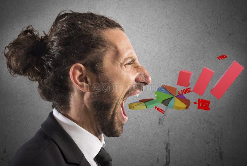 Economische instorting van zakenman stock afbeelding