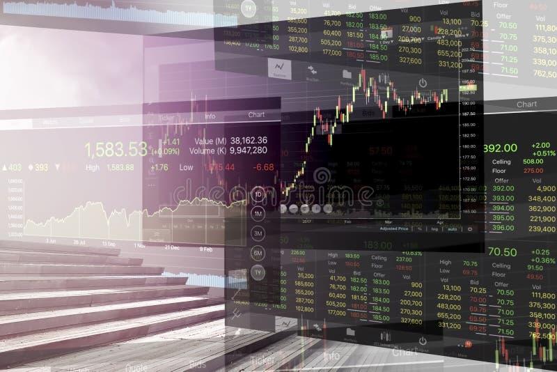 Economische problemen en Bedrijfscrisis met grafiekachtergrond stock afbeeldingen