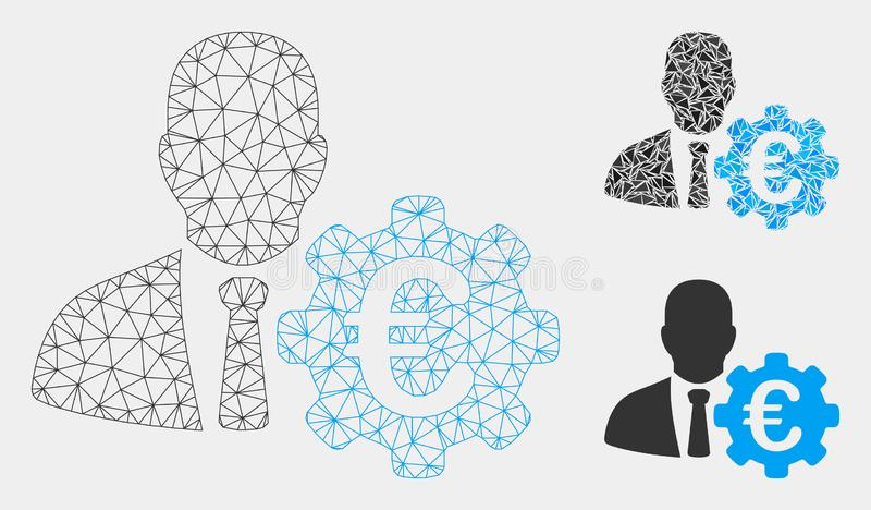 Economista Vetora Mesh Network Model do Euro e ícone do mosaico do triângulo ilustração do vetor