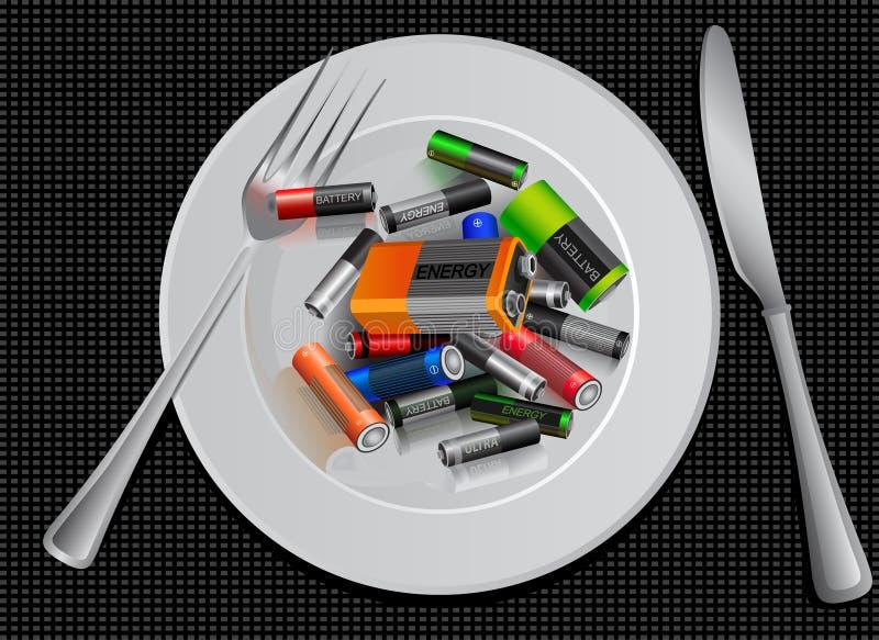 Economizzatore d'energia batteria su un piatto Mette in mostra la nutrizione pubblicità creativa divertente illustrazione di stock