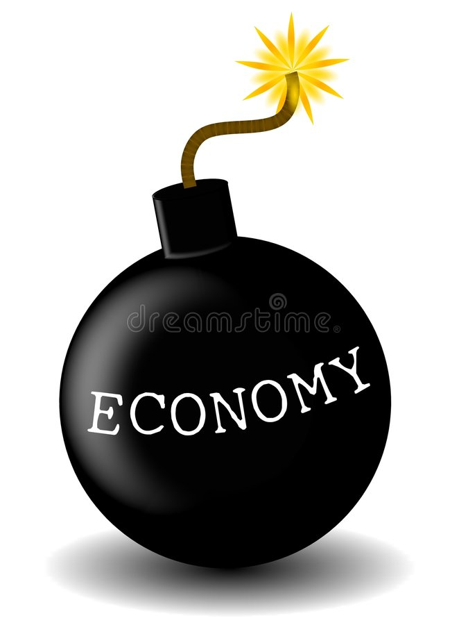 Economy Bomb. An illustration featuring a black bomb lit and ready to explode with the word 'Economy' written on it stock illustration