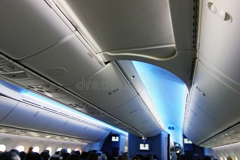 Economy Class cabin, American Airlines Boeing 787 stock photography