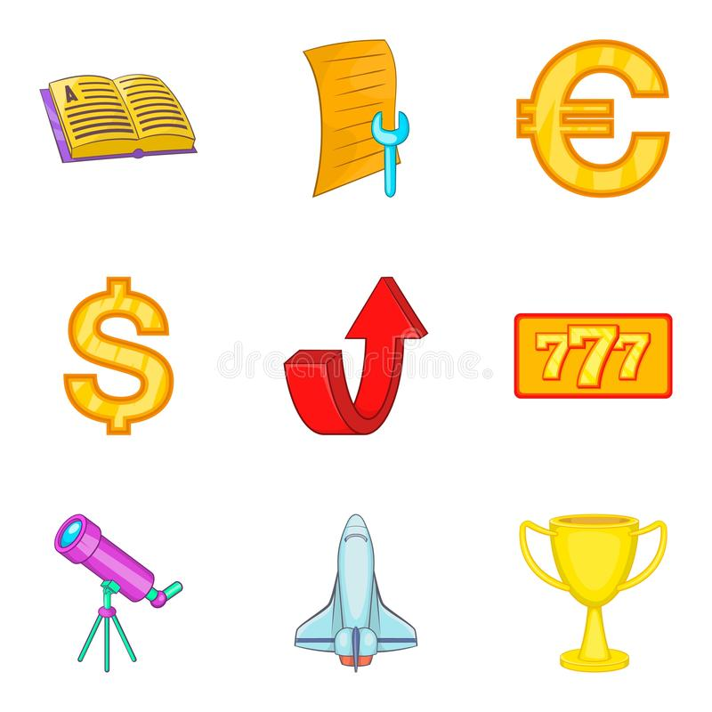 economy coaching icon set cartoon style stock vector illustration