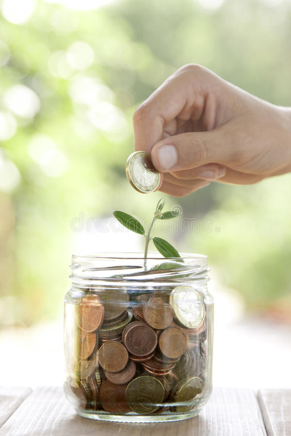 Economy and Finance. Pot with coins saving concept royalty free stock image