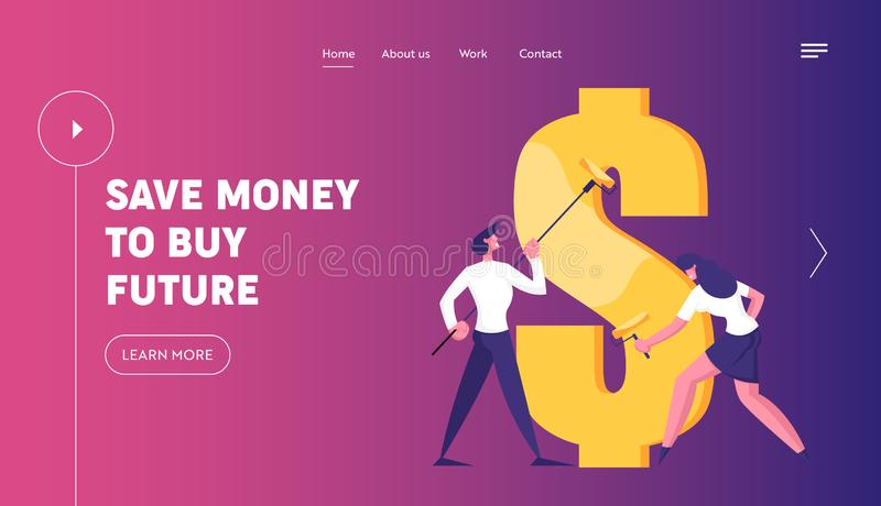 Economy and Finance Success Website Landing Page. Business Man and Woman with Rollers Drawing Huge Dollar Sign. With Gold Paint. Commerce Money Profit Web Page royalty free illustration