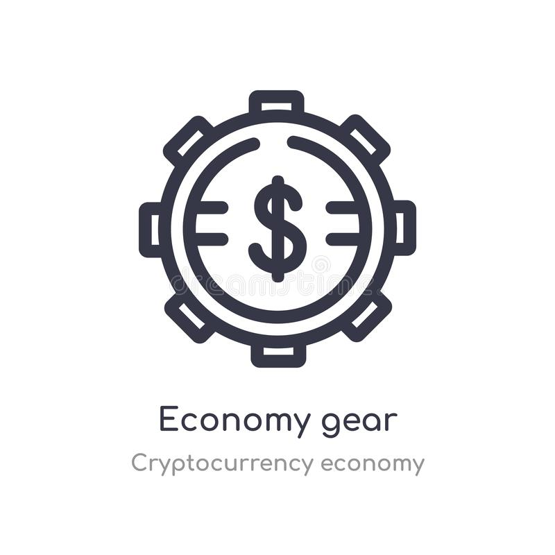 economy gear outline icon. isolated line vector illustration from cryptocurrency economy collection. editable thin stroke economy stock illustration
