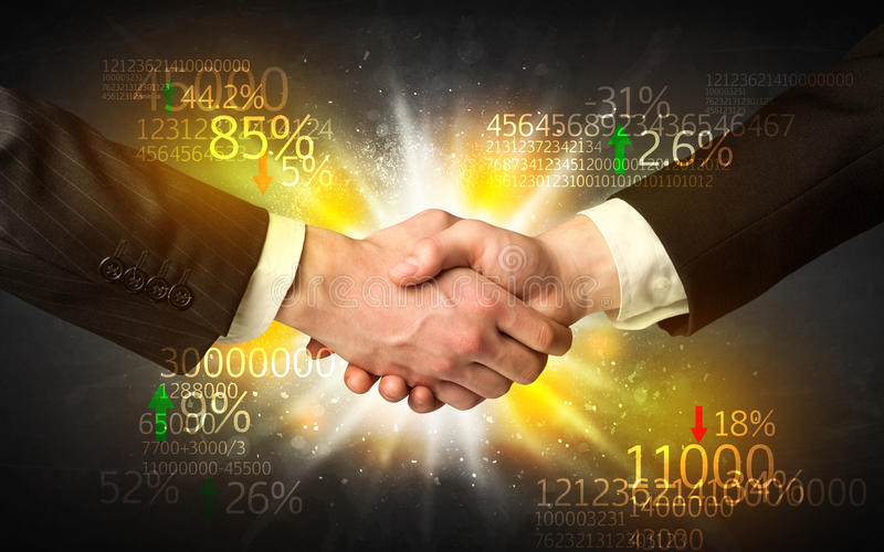 Economy handshake. Business Handshake with number analysis stock photos