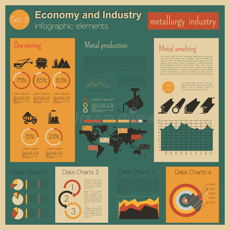 Economy and industry. Metallurgy industry. Industrial infographic template vector illustration