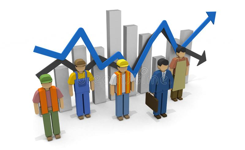 Working people Employment statistics Labor force 3D illustration. The economy recovers. Graph of employment statistics. The unemployment rate goes up. Labor royalty free illustration