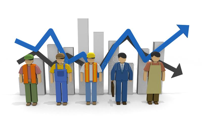 Working people Employment statistics Labor force 3D illustration. The economy recovers. Graph of employment statistics. The unemployment rate goes up. Labor vector illustration
