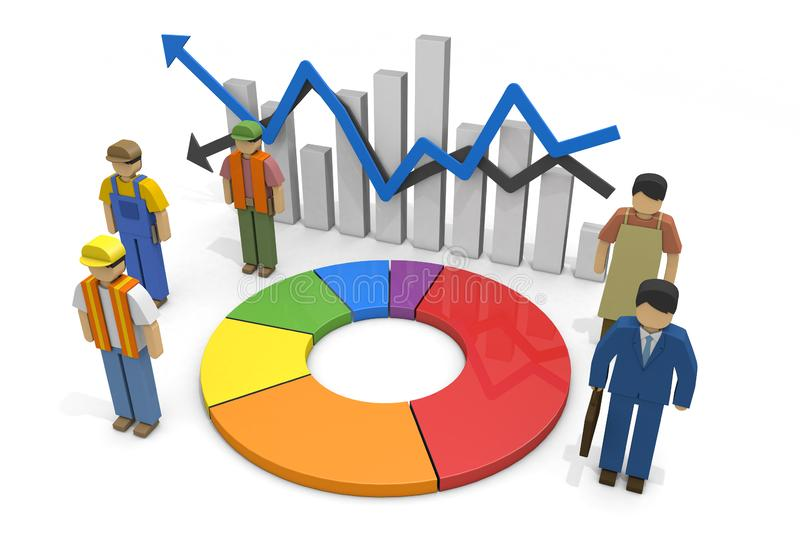 Working people Employment statistics Labor force 3D illustration. The economy recovers. Graph of employment statistics. The unemployment rate goes up. Labor stock illustration