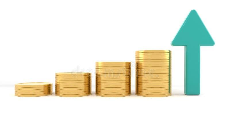 Economy rise concept, 3d r royalty free illustration