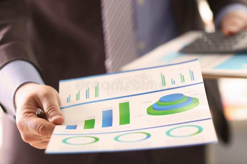 Economy Statistics Calculation Company Charge. Businessman Accounting Profit with Colour Chart. Business Audit Inspection. Expenses Invoice Digital Balance royalty free stock photo