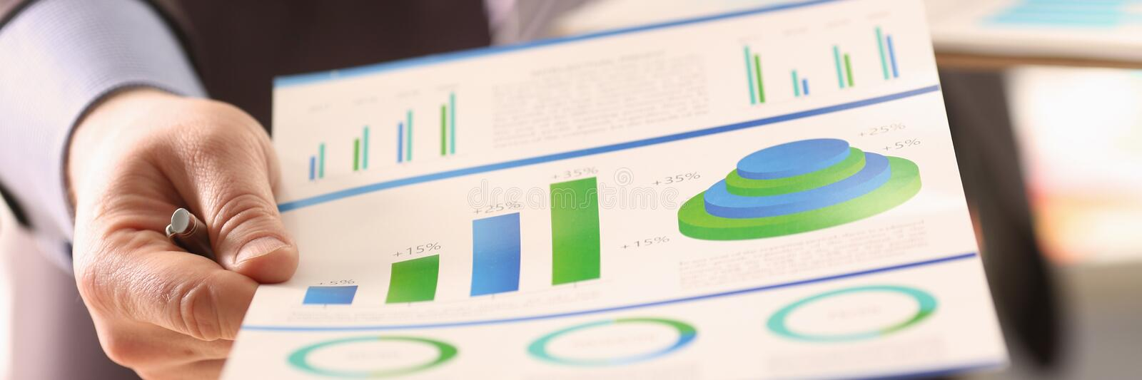 Economy Statistics Calculation Company Charge. Businessman Accounting Profit with Colour Chart. Business Audit Inspection. Expenses Invoice Digital Balance stock images
