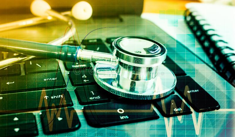 Medical marketing and Healthcare business analysis report stock photo