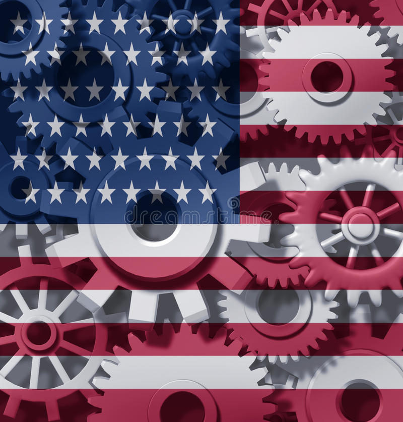 Economy U.S.A. america cogs wheels stock illustration