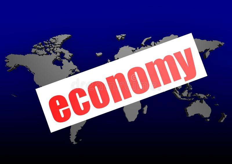 Economy word on the blue world map. Hi-res original 3d-rendered computer generated artwork vector illustration