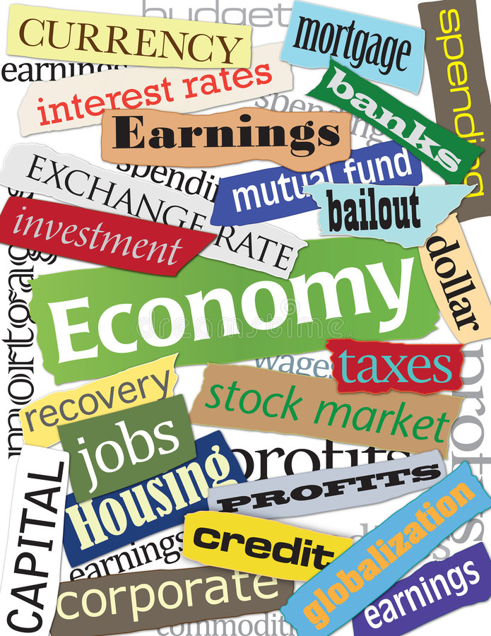 Economy Word Montage. Collection of descriptive words highlighting the global economy, investment & banking, taxes and the housing industry