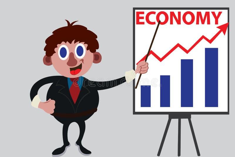 Econoom die sommige grafieken tonen royalty-vrije illustratie