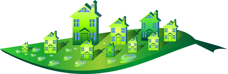 Ecopolis. Logo-environmental, renewable energy Green City stock illustration