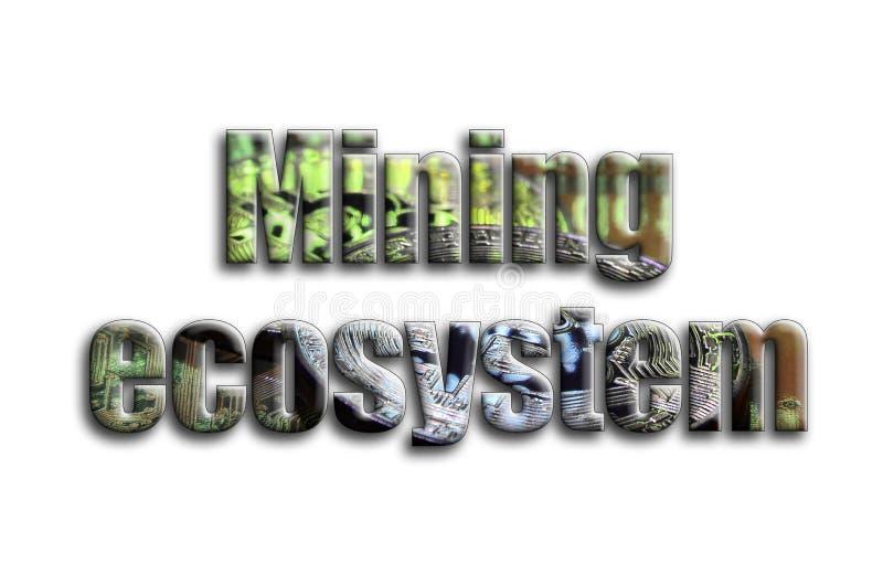 Ecosistema minero La inscripción tiene una textura de la fotografía, que representa varios bitcoins en un acelerador de gráficos ilustración del vector