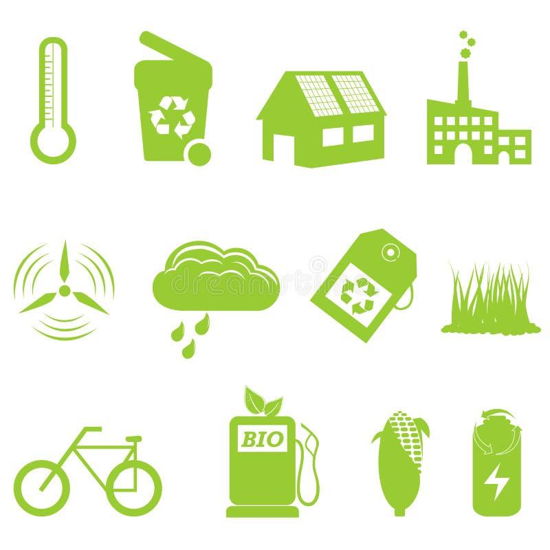 ecosymbol som återanvänder seten royaltyfri illustrationer