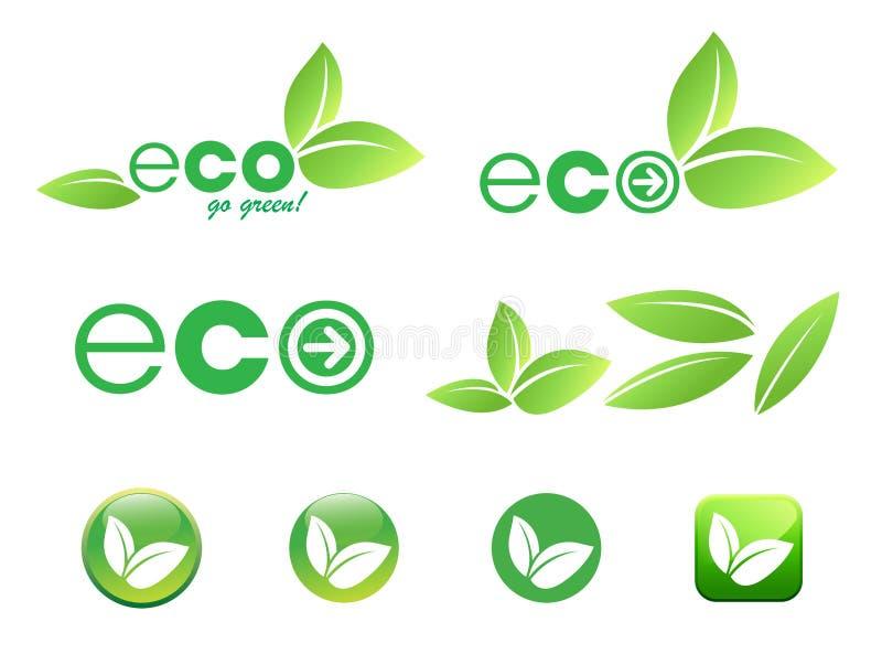 ecosymbolsleaf vektor illustrationer