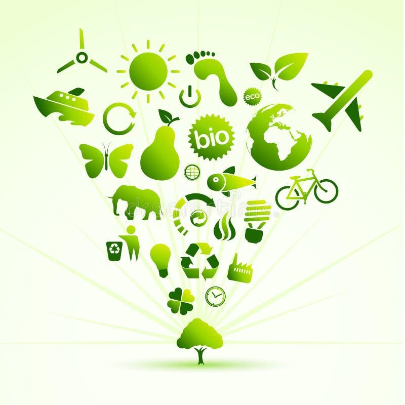 ecosymbolstree royaltyfri illustrationer