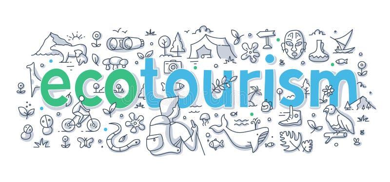 Ecotourism słowa Doodle pojęcie ilustracji