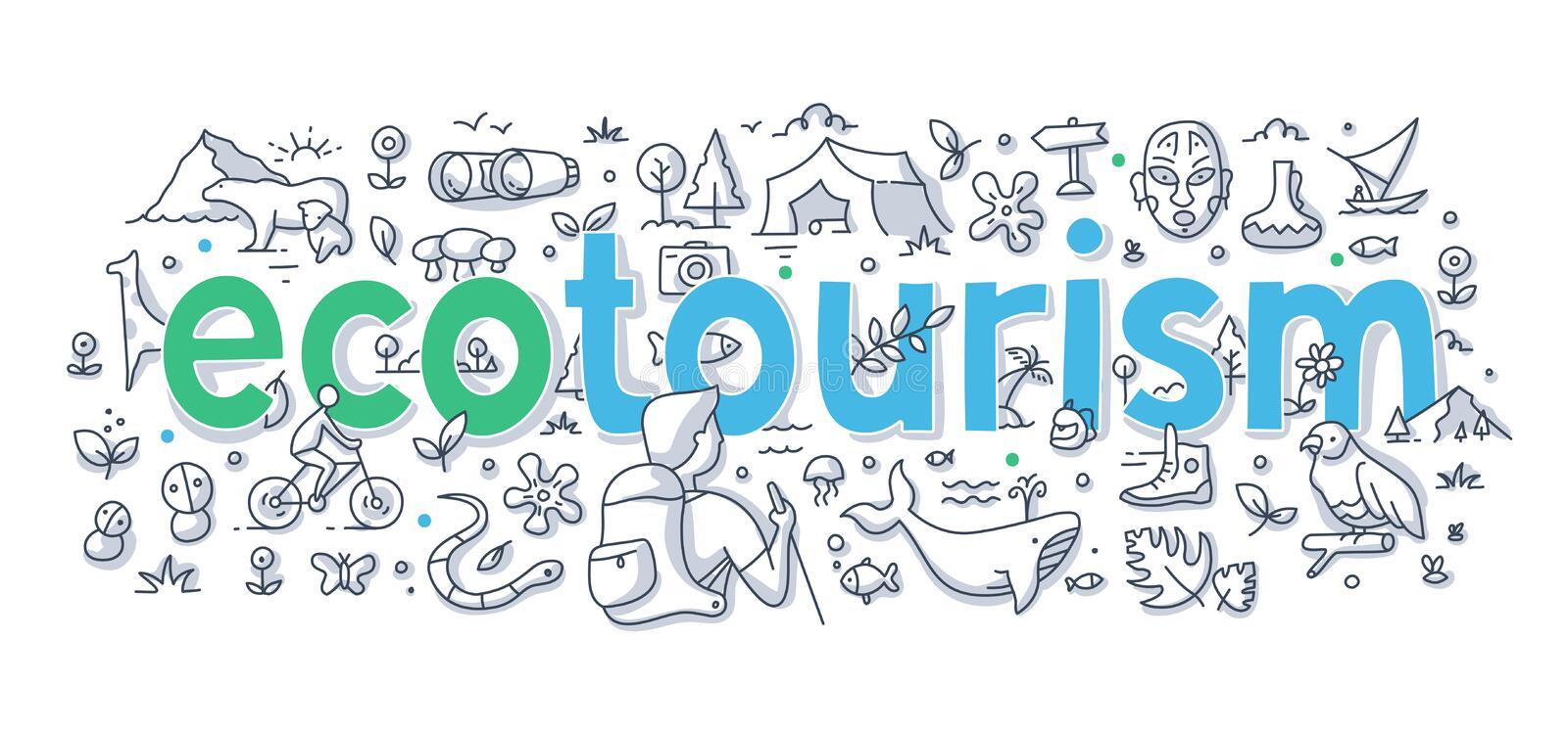 Ecotourism Word Doodle Concept. Ecotourism, responsible traveling abstract illustration with hand written word lettering. Doodle concept of low-impact tourism stock illustration