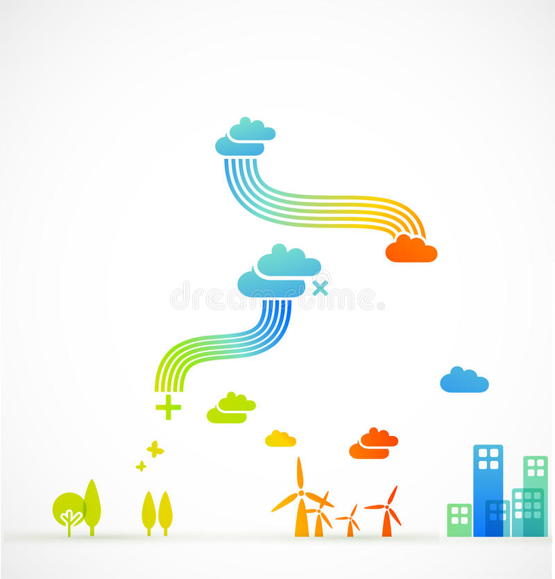 Ecotown - creatieve illustratie stock illustratie