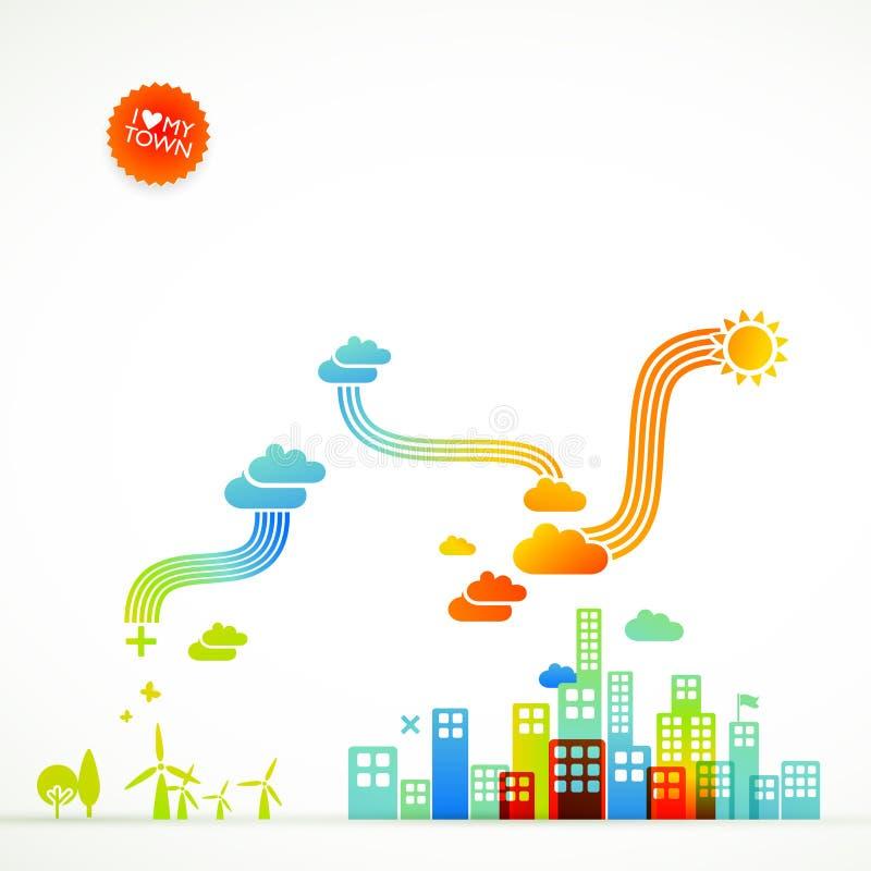 Ecotown - illustration créatrice illustration stock