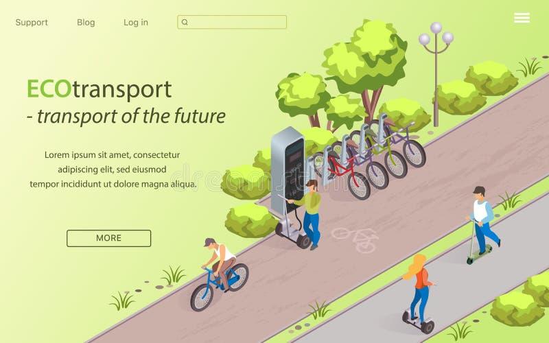 Ecotransportvervoer van de Toekomst, Beeldverhaal stock illustratie