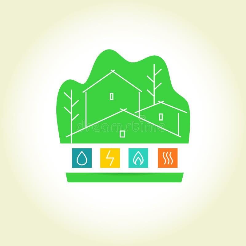 ecovänskapsmatchen för bakgrund frambragte digitalt den gröna höga husbilden res logo stock illustrationer