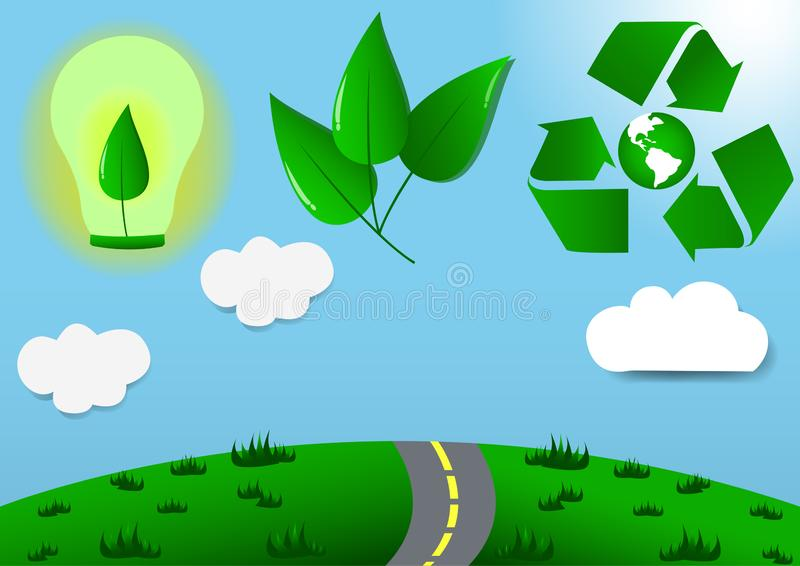 Ecoworlds /eco /wildlife /save/art /vector /Recycle /power save /Energy saving stock photography