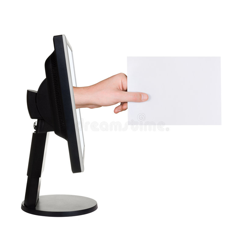 Ecrã de computador e mão com cartão fotografia de stock royalty free