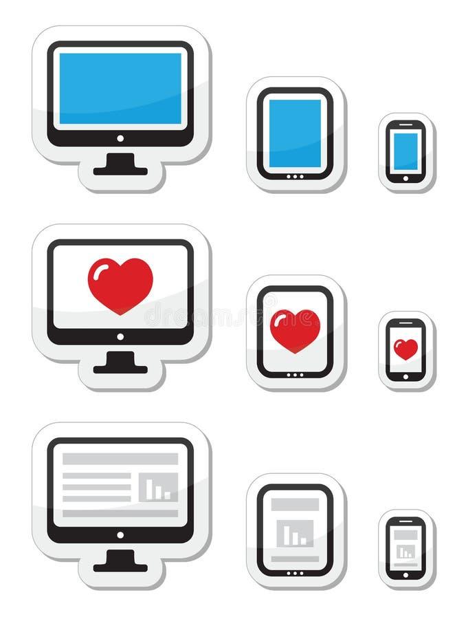 Ecrã de computador, tabuleta, e ícones do smartphone ilustração do vetor