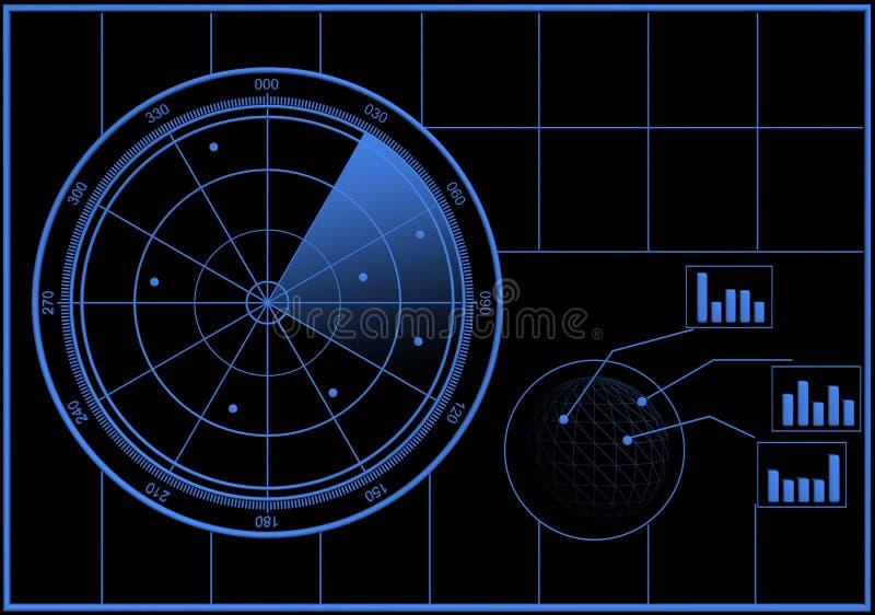 Ecrã de radar de Digitas ilustração royalty free