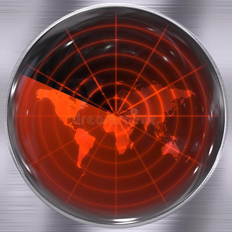 Ecrã de radar do mundo ilustração stock