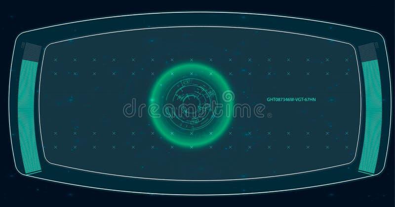 Ecrã de radar Ilustração do vetor para sua água fresca de design Fundo da tecnologia Interface de utilizador futurista HUD ilustração royalty free