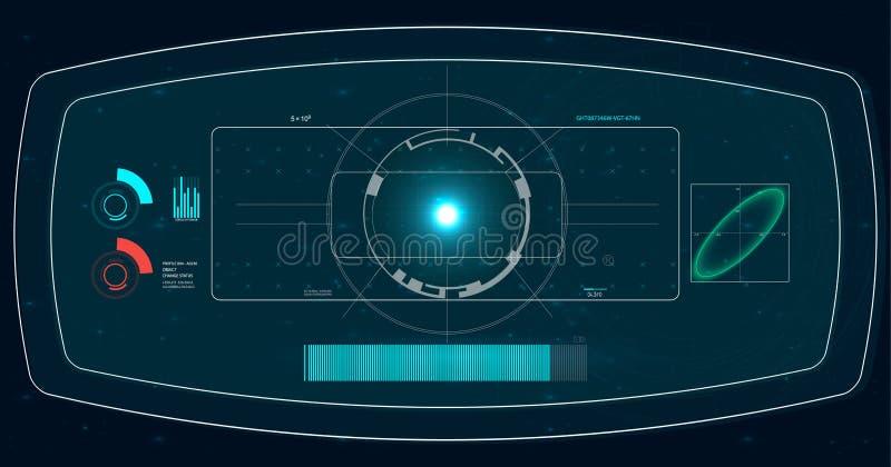 Ecrã de radar Ilustração do vetor para sua água fresca de design Fundo da tecnologia Interface de utilizador futurista HUD ilustração do vetor