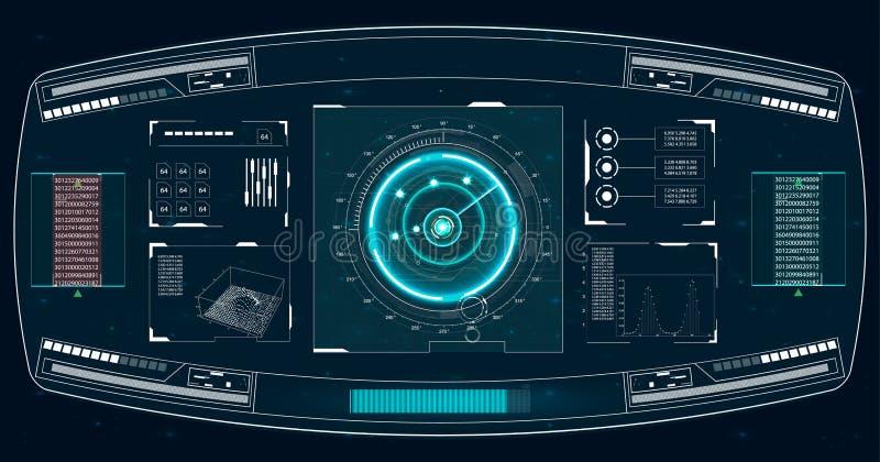 Ecrã de radar Ilustração do vetor para sua água fresca de design Fundo da tecnologia Interface de utilizador futurista HUD ilustração stock