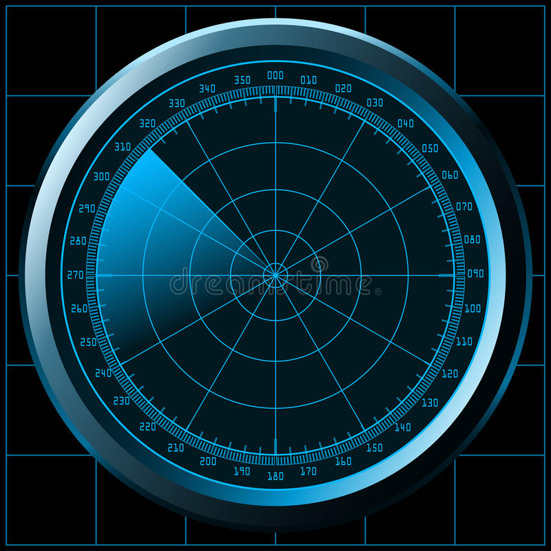 Ecrã de radar (sonar) ilustração do vetor