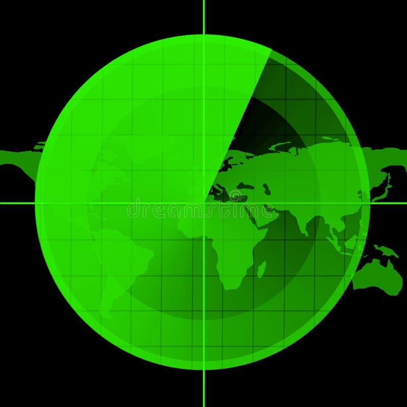 Ecrã de radar verde ilustração do vetor
