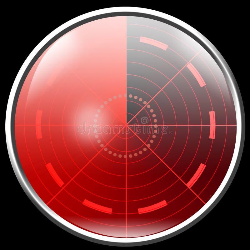 Ecrã de radar vermelho ilustração royalty free