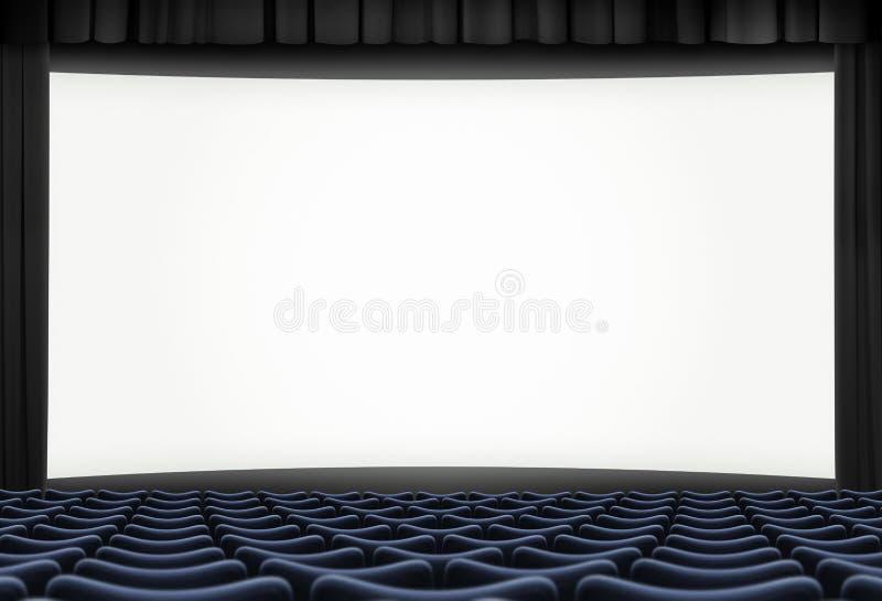 Ecrã grande do cinema com quadro de cortina preta e assentos azuis ilustração 3d fotografia de stock