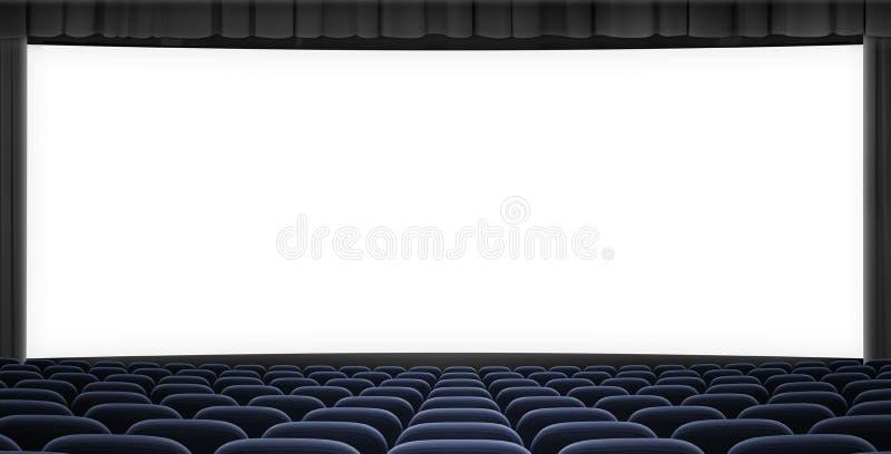Ecrã grande do cinema com quadro de cortina preta e assentos azuis ilustração 3d foto de stock royalty free