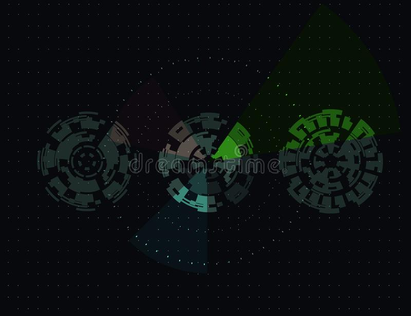 Ecr? de radar Fundo futurista abstrato da tecnologia digital Fundo escuro ilustração royalty free
