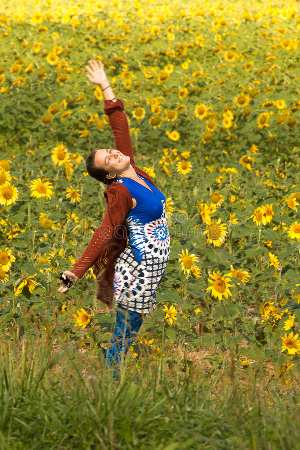 Ecstasy in Field of Sunflowers stock photo